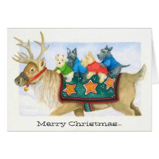 Cartão da rena e de Natal dos terrier