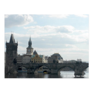 Cartão da república checa de Praga da ponte de