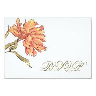 Cartão da resposta da peônia RSVP do pêssego