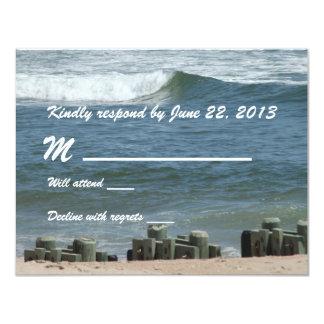 Cartão da resposta do azul de oceano convites personalizado