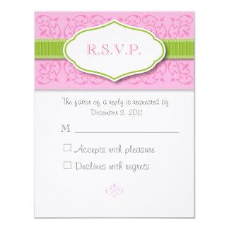 Cartão da resposta do casamento da fita e do selo convite 10.79 x 13.97cm