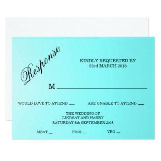 Cartão da resposta do casamento de turquesa de convite 11.30 x 15.87cm