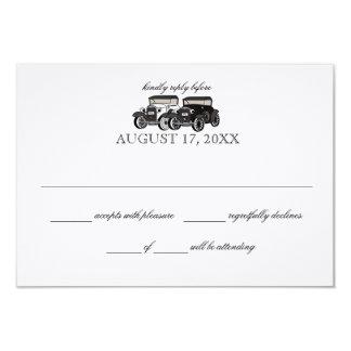 Cartão da resposta do casamento do carro antigo