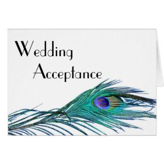 Cartão da resposta do casamento do pavão (com esco