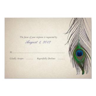 Cartão da resposta do casamento do pavão do convite 8.89 x 12.7cm