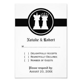 Cartão da resposta do casamento do rei e da rainha convite 8.89 x 12.7cm