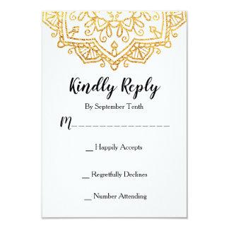 Cartão da resposta do convite RSVP do casamento da