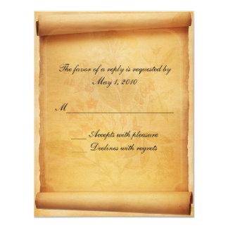 Cartão da resposta do rolo do pergaminho