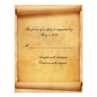 Cartão da resposta do rolo do pergaminho convites personalizados