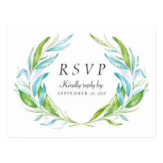 Cartão da resposta RSVP da aguarela da flor do Cartão Postal