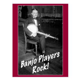 Cartão da rocha dos jogadores do banjo