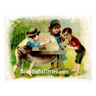Cartão da roda de moedura do Victorian