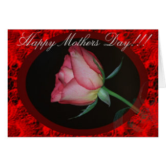 Cartão da rosa vermelha do dia das mães