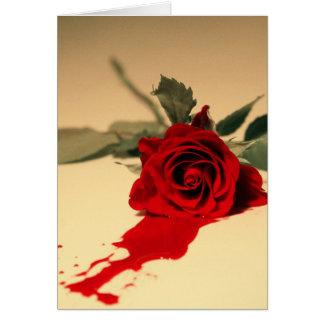 Cartão da rosa vermelha do sangramento