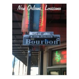 Cartão da rua de Nova Orleães Louisiana Bourbon