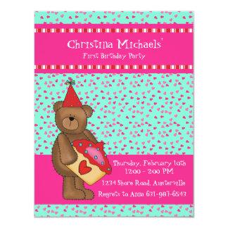 Cartão da sala de aula do Cupcake-Urso do coração Convite 10.79 X 13.97cm