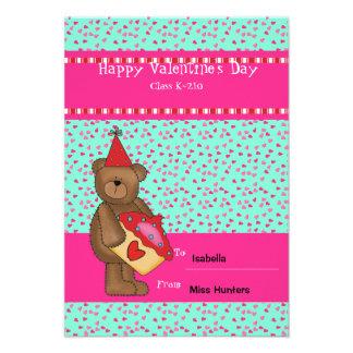 Cartão da sala de aula do Cupcake-Urso do coração Convites Personalizado