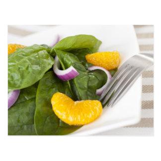 Cartão da salada do mandarino do espinafre