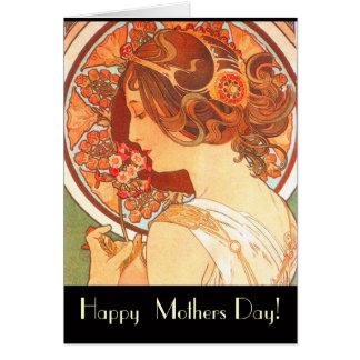 Cartão da senhora dia das mães de Nouveau da arte