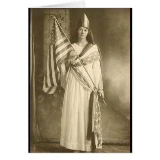 cartão da senhora do liberity do sufrágio