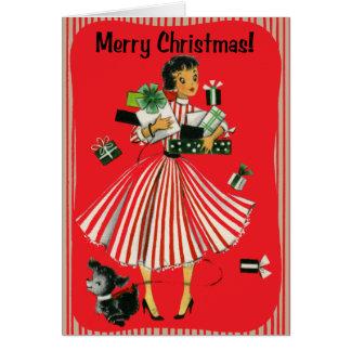 Cartão da senhora Natal da compra do Vintage-Estil
