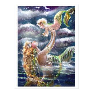 Cartão da sereia & da criança
