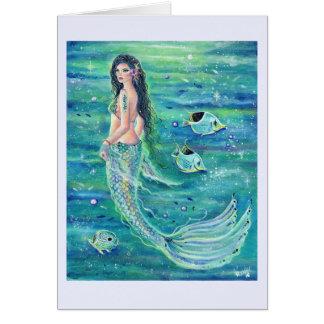 Cartão da sereia de Andrina com o angelfish por