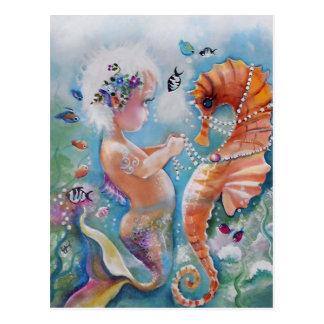 Cartão da sereia do bebê e do cavalo de mar