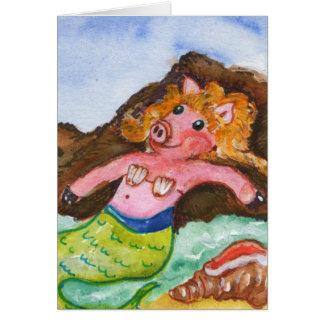Cartão da sereia do porco - Merpig