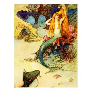 Cartão da sereia do vintage