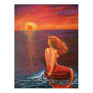 Cartão da sereia - 'olhando o Sunset