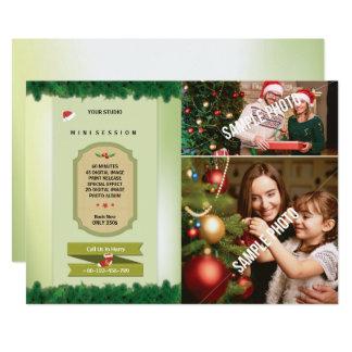 Cartão da sessão da fotografia do Natal mini Convite 12.7 X 17.78cm