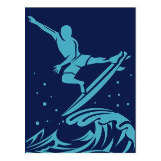 Cartão da silhueta do surfista