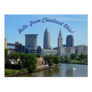 Cartão da skyline de Cleveland Ohio (texto