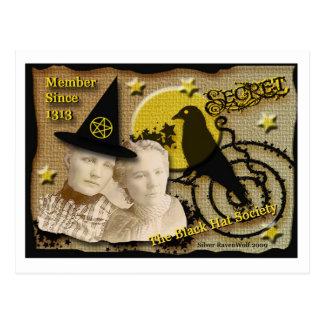 Cartão da sociedade secreta do chapéu negro