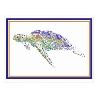 Cartão da tartaruga da natação