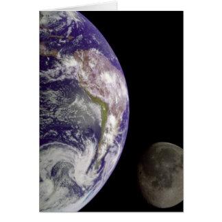 Cartão da terra e da lua