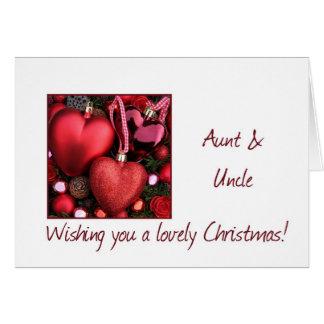 Cartão da tia & do tio Natal com ornamento