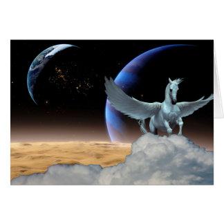 Cartão da Todo-Ocasião de Pegasus, de lua e de
