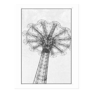 Cartão da torre do salto de pára-quedas (o Coney