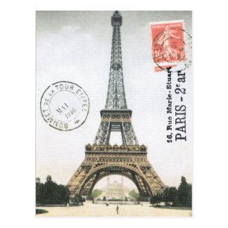Cartão da torre Eiffel do vintage…