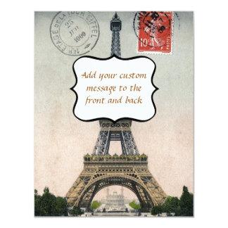 Cartão da torre Eiffel do vintage Convite 10.79 X 13.97cm