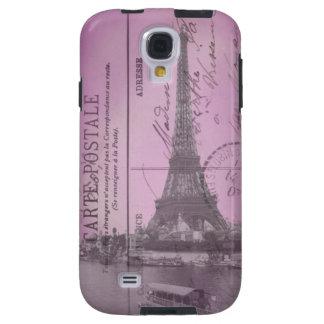 Cartão da torre Eiffel do vintage no rosa Capa Para Galaxy S4