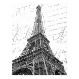 Cartão da torre Eiffel, preto & branco, vertical