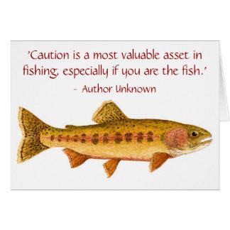 Cartão da truta com provérbio engraçado