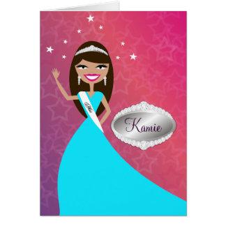 Cartão da TT-Senhorita Beleza princesa Brunette |