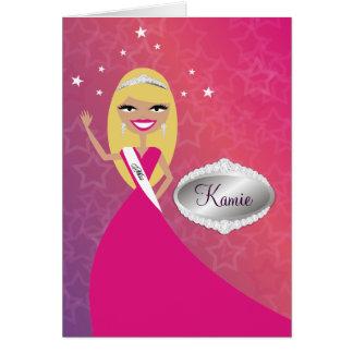 Cartão da TT-Senhorita Beleza princesa Louro  