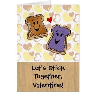 Cartão Da vara namorados da manteiga de amendoim junto