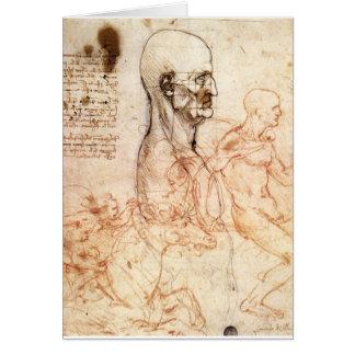 Cartão da Vinci -- Esboço do homem e do cavalo