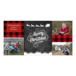 Cartão da xadrez do Feliz Natal Cartão Com Foto